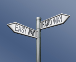 easy hardway road sign arrow